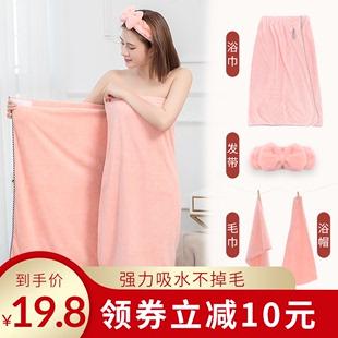 浴巾女家用非纯棉吸水速干不掉毛巾三件套浴裙可穿可裹网红ins 风