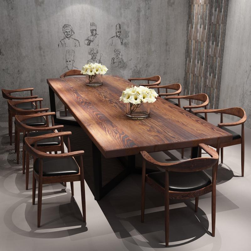 工业风办公桌咖啡厅铁艺实木长桌电脑桌子简约现代长条餐桌椅组合