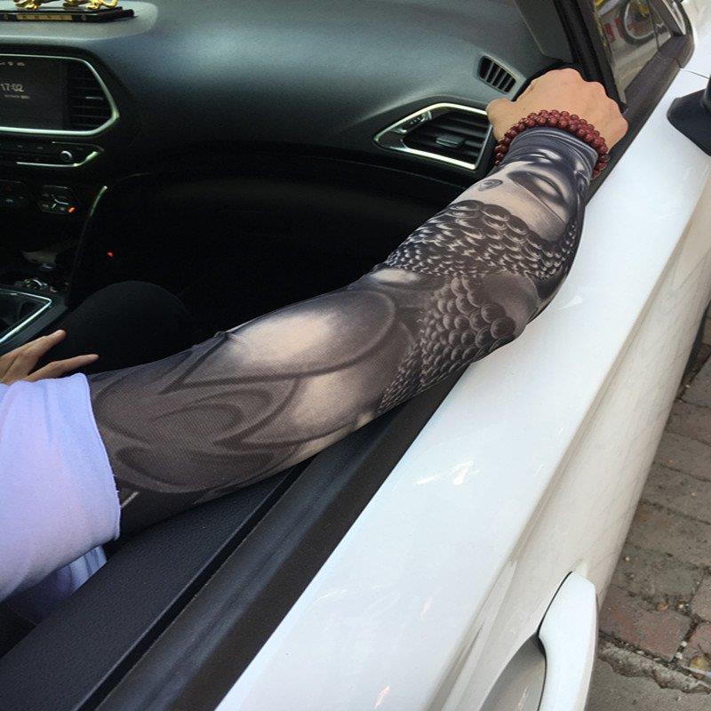 无缝户外男女冰丝冰袖花臂纹身袖套