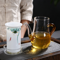 Glass black tea tea pot tea making device Dehua white jade porcelain teapot hand-painted ceramic inner tank filter bubble flower teapot