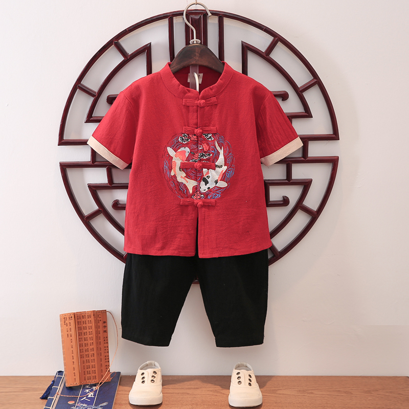 男童古装汉服套装儿童唐装中国风宝宝短袖夏季男孩周岁礼服两件套