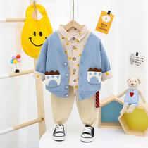 小男孩帅气潮装童装男童洋气儿童春秋新款0123岁宝宝开衫三件套装