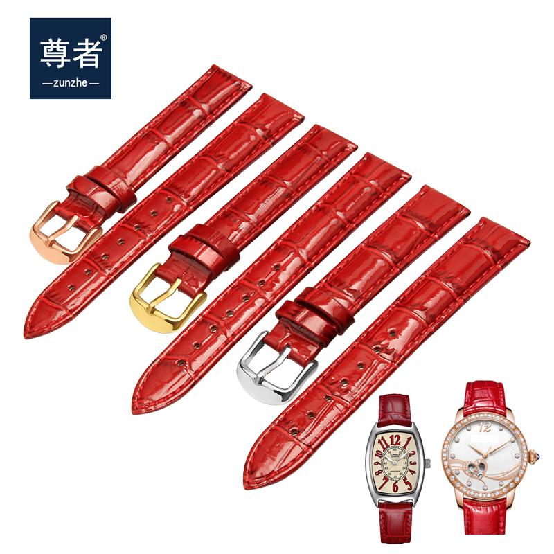 表带女真皮女款时尚适配卡西欧小红方表罗西尼铁达时天梭表链配件