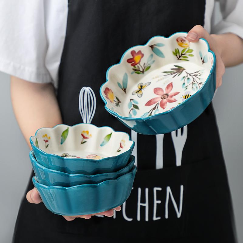 水果沙拉盘家用网红小碗特色餐具碗碟套装创意高颜值陶瓷可爱盘碗