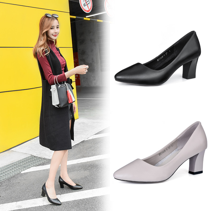 Dao hang thick heel work shoes womens Cowhide pointed comfortable formal womens single shoes