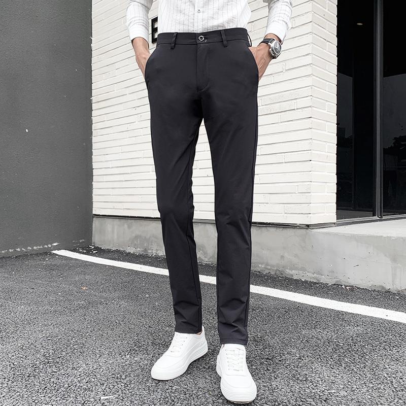 夏季男装长裤男裤商务休闲裤男士西裤直筒修身免烫薄款黑色裤子男限5000张券