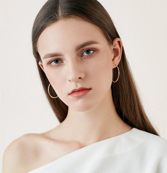 靓纯925纯银耳圈女气质网红圈圈高级感法式小众耳环2019新款潮
