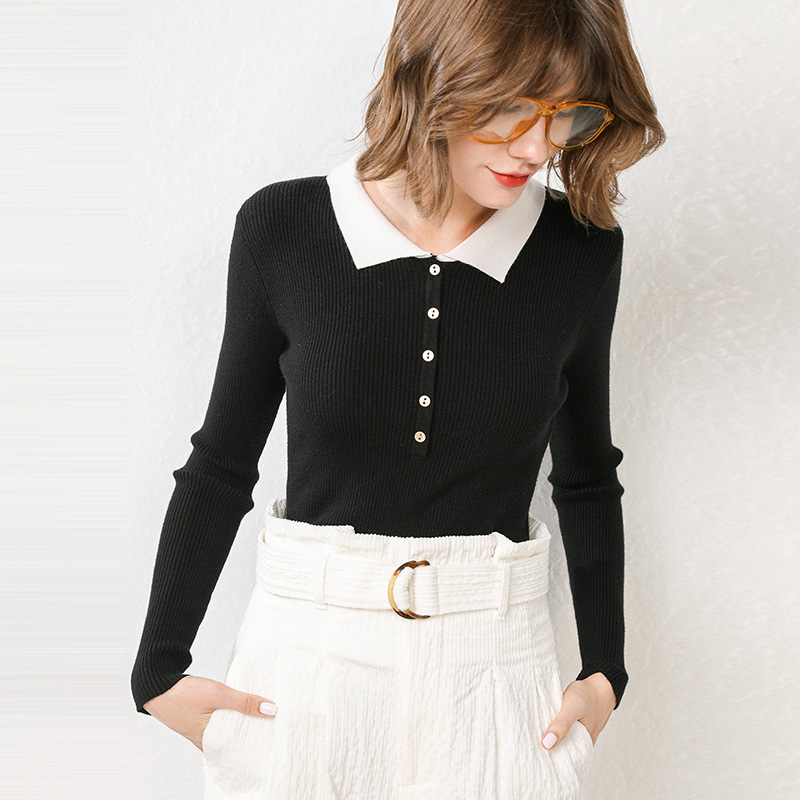 Autumn and winter 2019 new Polo neckline sweater womens fashion slim knit long sleeve with thin and versatile bottoming