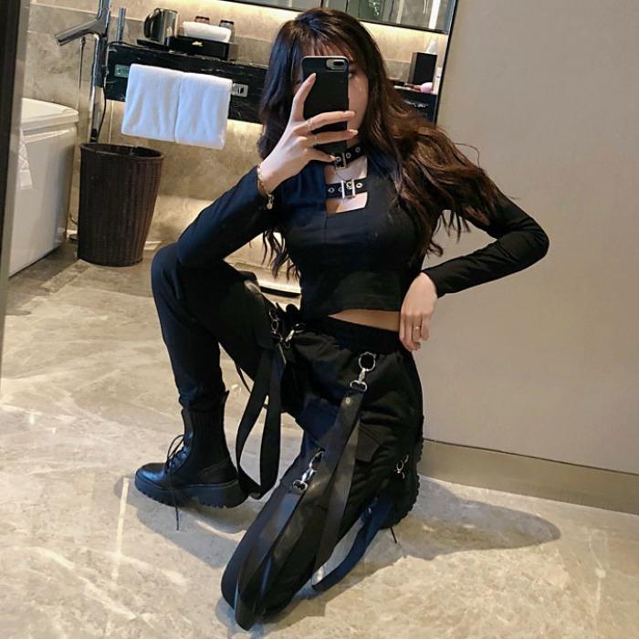 洋气两件套女秋韩版性感短款露脐上衣T恤+高腰显瘦休闲工装裤套装