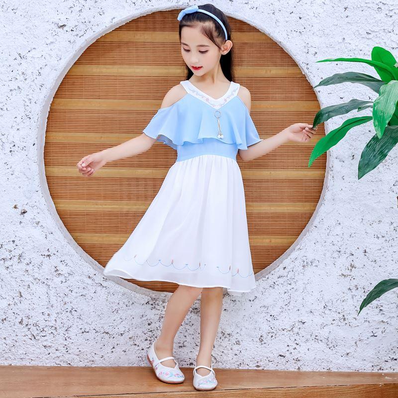 热销0件不包邮热女童夏装洋气中童小学生公主裙