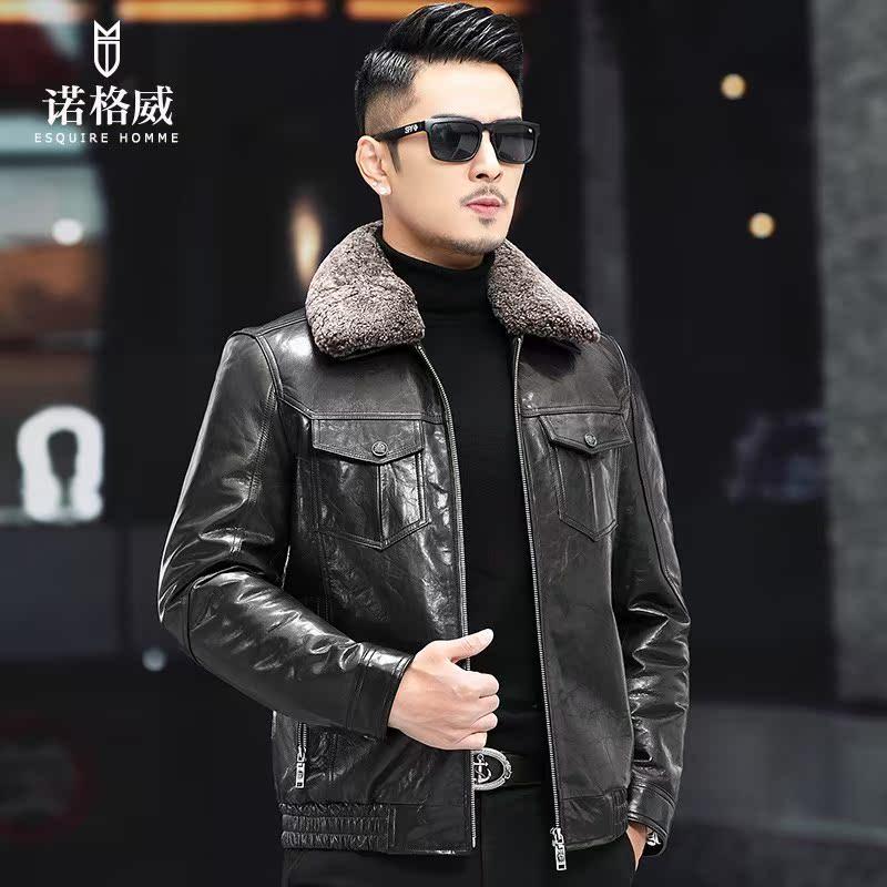 Counter famous oil wax goat skin down jacket short wool collar plus plush fur jacket Haining locomotive really