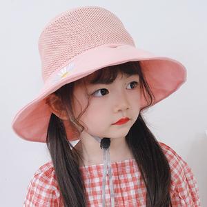儿童防晒帽夏春秋女童帽子网眼凉薄款大檐宝宝遮阳帽渔夫太阳