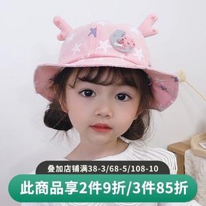 婴儿帽子春秋季薄款1-3岁2宝宝渔夫帽遮阳可爱超萌卡通男