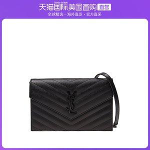 香港直發YSL 圣羅蘭 女士黑色牛皮單肩包斜挎包 393953 BOW08 100