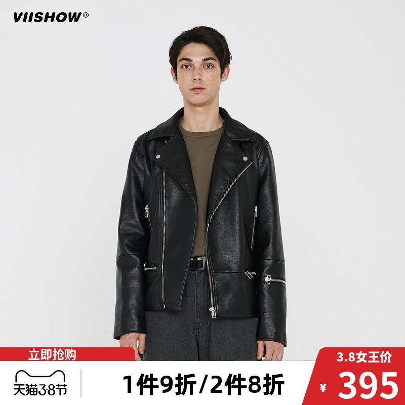 Vishow2019 autumn and winter fashion brand jacket, mens slim fit, Korean handsome locomotive leather suit, casual hip hop