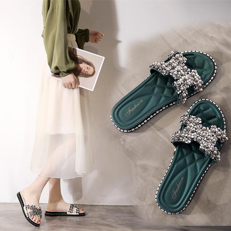 韩版夏季拖鞋女外穿时尚百搭珠叶网红ins一字拖海边沙滩休闲凉拖