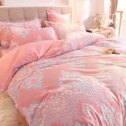 冬季床上6d雕花绒四件套网红同款双面绒床单水晶绒法莱牛奶绒加厚