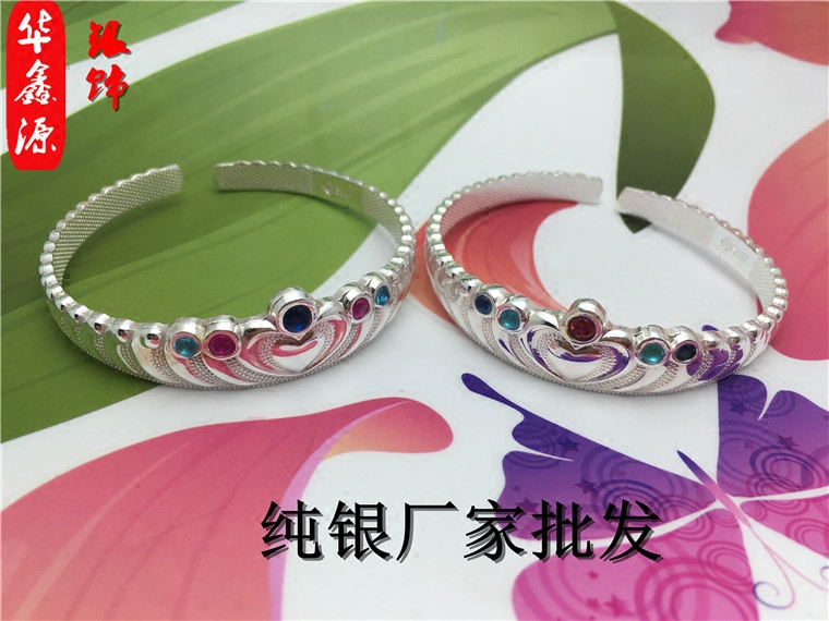 S999 pure silver color crown characteristic fashion bracelet with Diamond Blue Diamond Red Diamond Personality Charm Silver Bracelet for girlfriend
