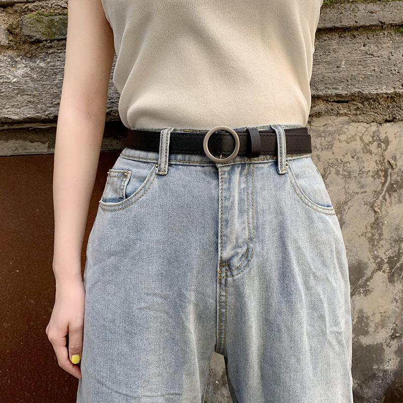 无孔皮带女简约百搭韩国网红ins风韩版时尚黑色牛仔裤腰带女装饰