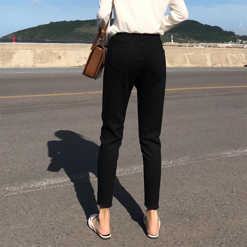 實拍B1618 牛仔褲女2019秋韓版高腰修身顯瘦彈力鉛筆小腳褲九分褲