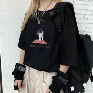 1005實拍100%純棉款T恤2020年新品黑色印花T恤少女夏天短袖上衣