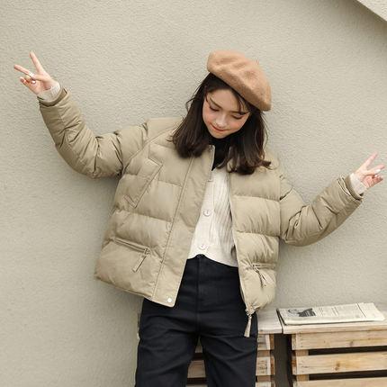 香卡琳2018冬新款韩版学院纯色棉衣冬季外套短款面包服宽松棉袄女