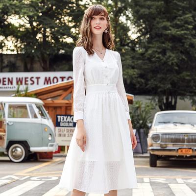白色连衣裙女仙气质显瘦官方网店