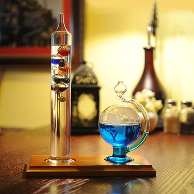 伽利略温度计气压球组合套装复古天气预报瓶桌面装饰客厅摆件礼品
