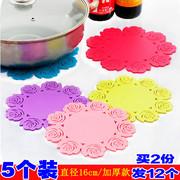 【5个】加厚。硅胶隔热垫玫瑰花杯垫盘盆壶餐垫防烫防滑创意圆形