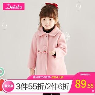 新款 笛莎童装 女童呢大衣2019冬季 小童女宝宝刺绣洋气外套女童上衣