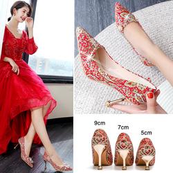 秀禾服婚鞋女2020年新款中跟结婚新娘鞋子细跟红色高跟秀禾鞋大码