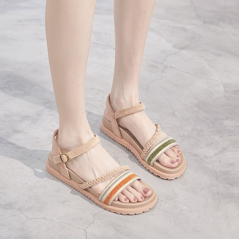 2019 summer ankle strap fringe flat shoes simple one word open toe ROMAN SANDALS feminine sexy fashion shoes