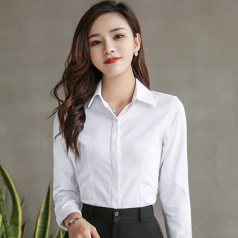 春夏白衬衫女翻领防走光长袖短袖职业衬衣打底宽松工装工作服正装