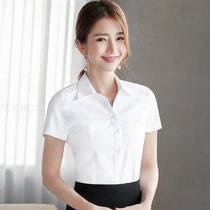 白衬衫女短袖宽松春夏季工作服正装工装大码黑蓝职业装女装白衬衣