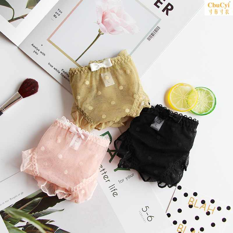 Japanese lace underwear female sexy net cotton crotch lovely lotus edge wave point sweet girls Triangle pants head summer