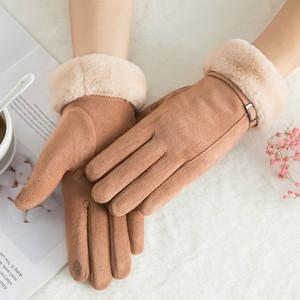 手套冬天女骑车电动车加绒手套女冬可爱韩版女士冬季加厚保暖手套