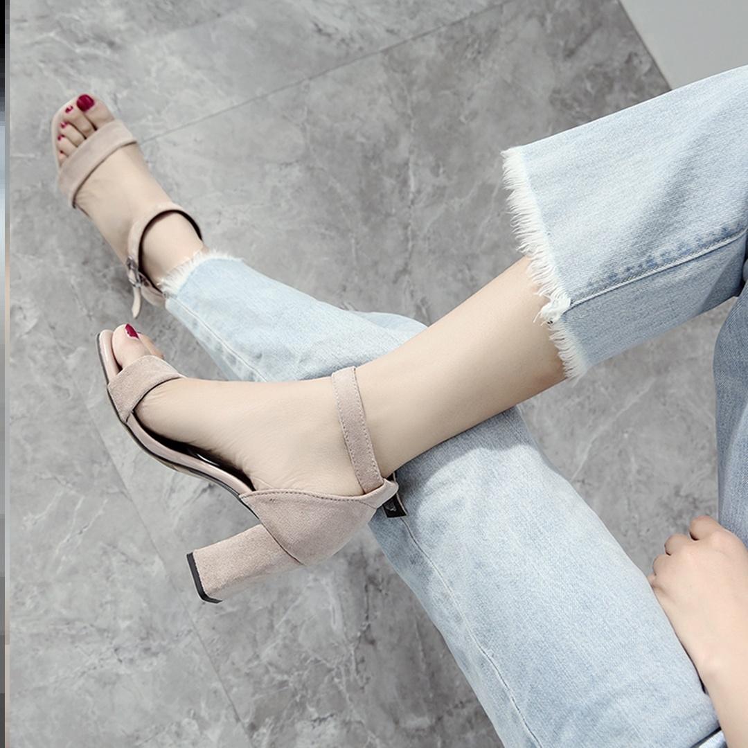 美女凉鞋子高跟鞋新款潮流细跟凉鞋女女子创意舒服日常夏款温柔