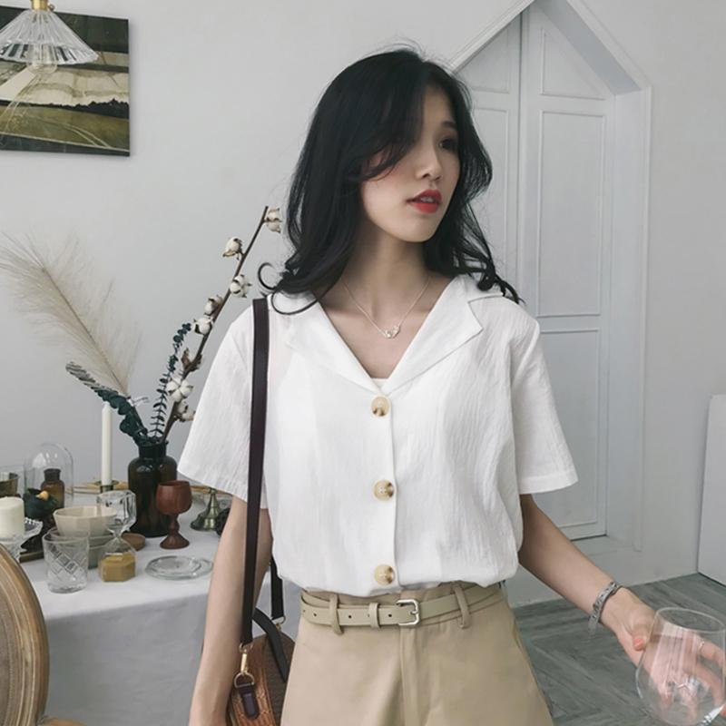 复古短袖V领衬衫女夏2018新款宽松韩范chic衬衣纯色港风上衣潮