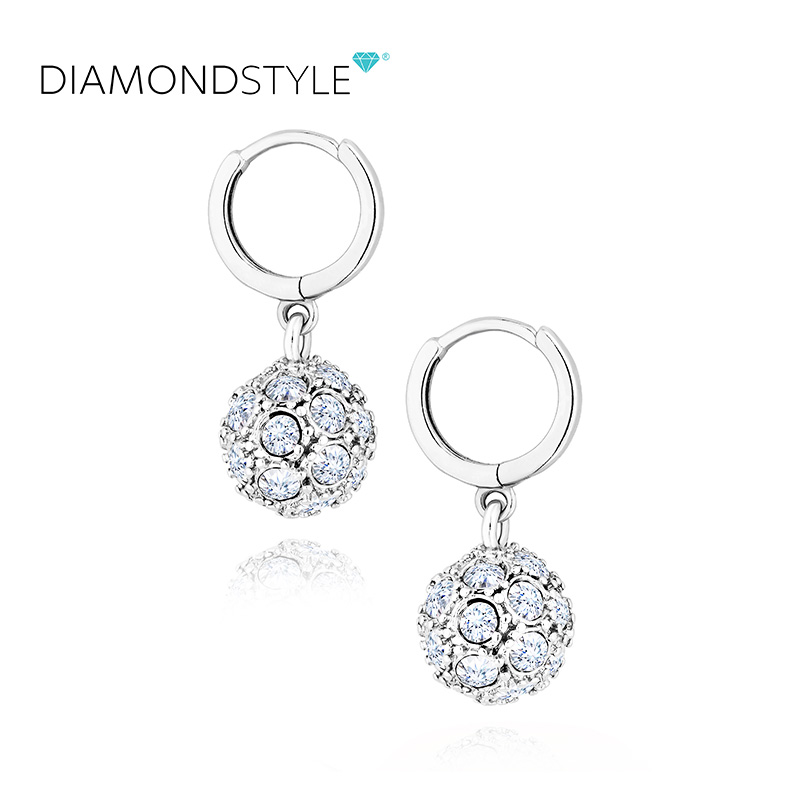 Diamond style Swarovski crystal ball with Diamond Earrings