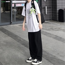 CONCISE简街宽松黑色灰色垂坠感西裤男潮牌直筒阔腿休闲西装裤子