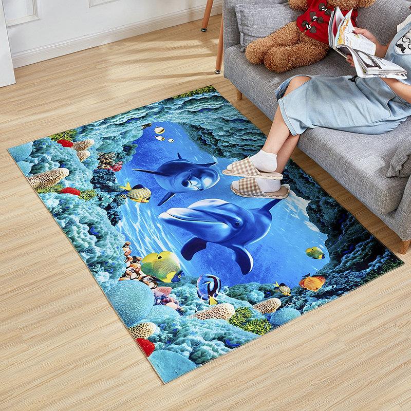 可裁剪3D地垫地毯门垫进门卧室门厅地垫脚垫防滑海洋系列地垫毯子淘宝优惠券