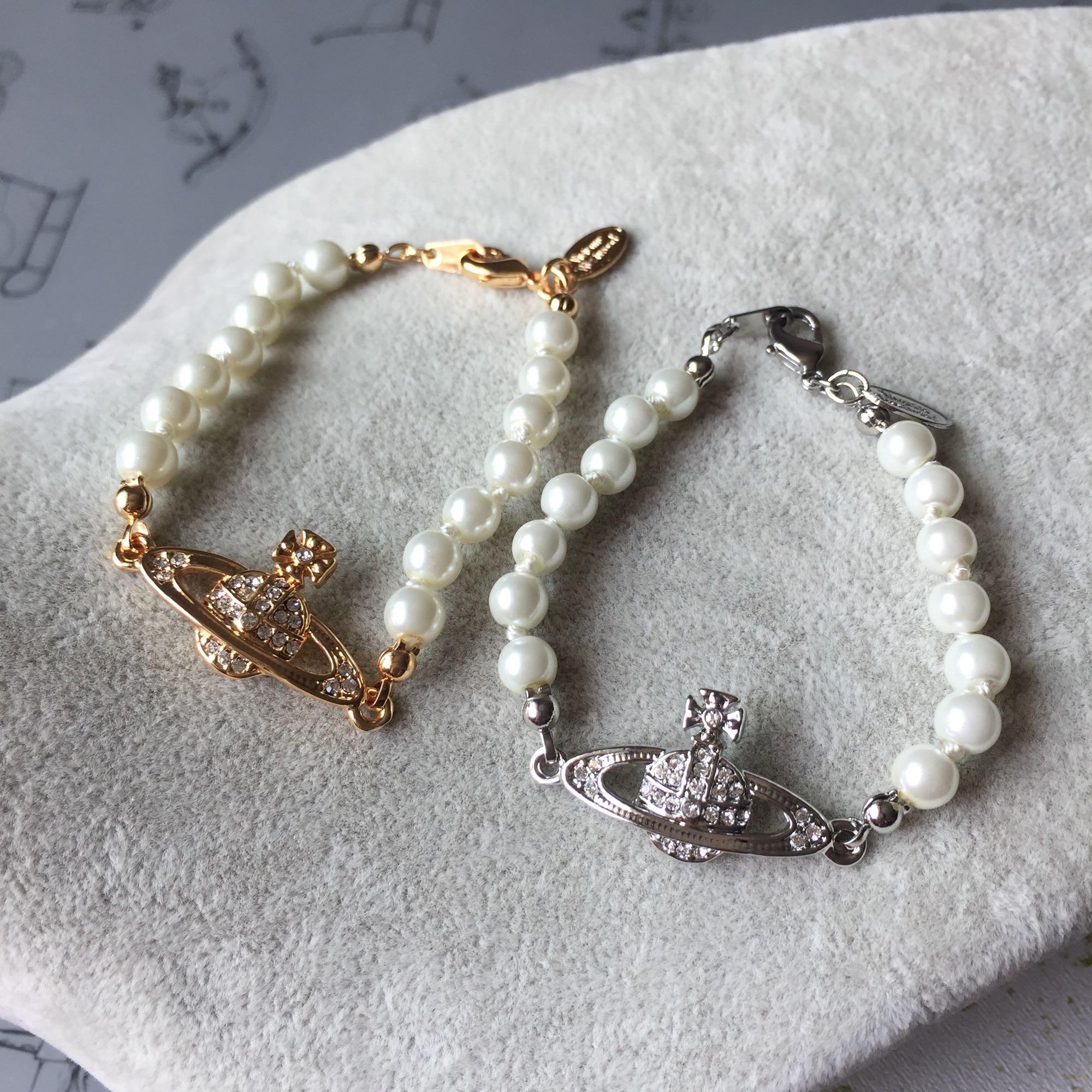 欧美饰品首饰经典简约风格满钻土星珍珠手链银色金色s018s019包邮