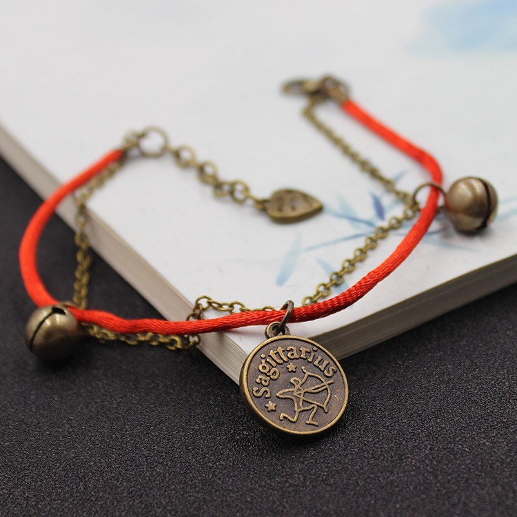Twelve constellations Japanese and Korean bell Anklet for male and female students Black Retro couple Anklet with personalized red rope Anklet