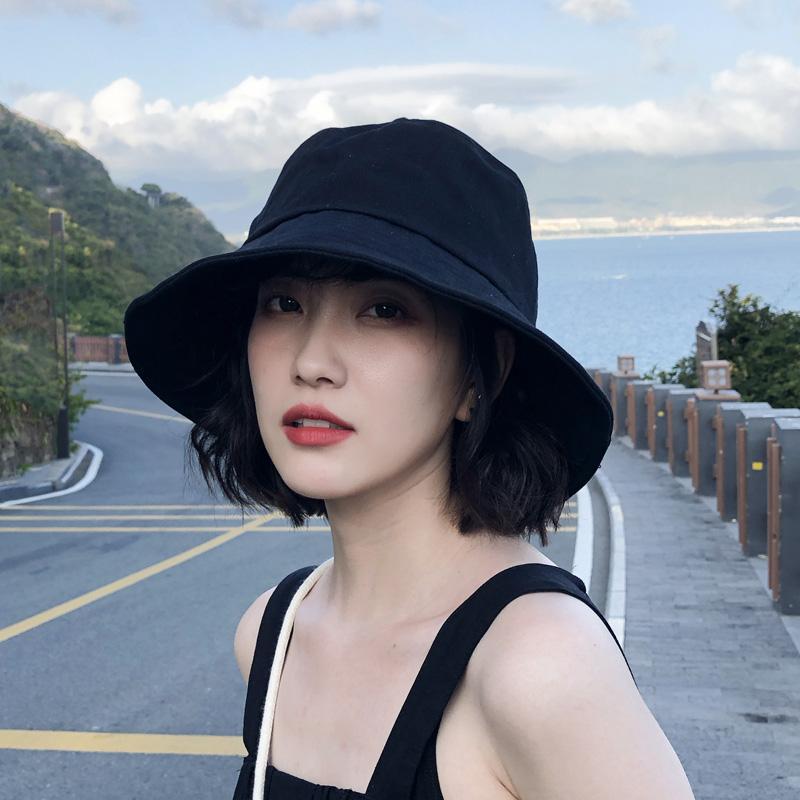 网红黑色渔夫帽春夏韩版男太阳帽子