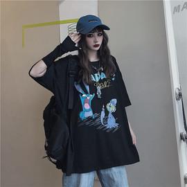 ins暗黑系夏装短袖t恤女宽松韩版原宿风日系潮酷女孩盐系穿搭上衣