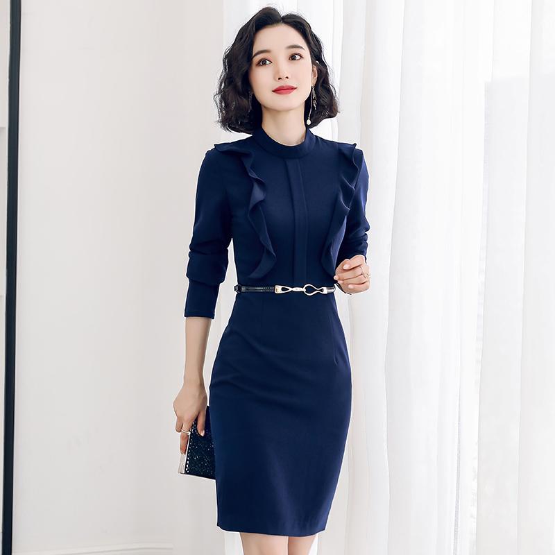 职业连衣裙气质美容院工装时尚正式场合女装裙子工作服女神范秋季