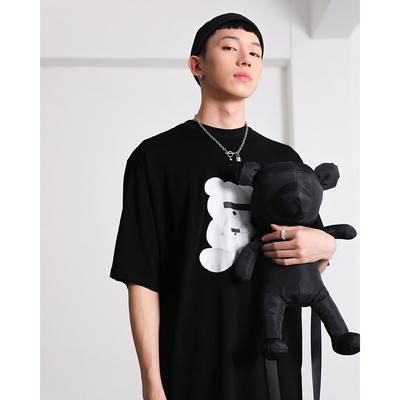 雀斑男装 夏季短袖休闲圆领蒙眼玩具卡通小熊男款个性时尚T恤