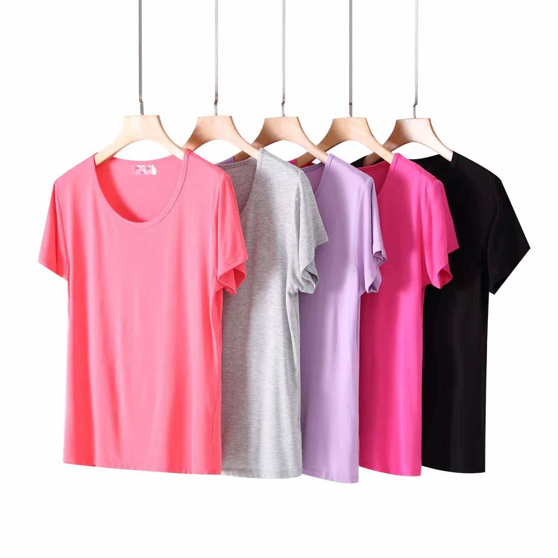 夏季女士莫代尔棉t恤短袖圆领纯色宽松舒适半袖家居睡上衣打底衫