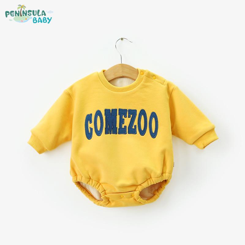 婴儿薄棉连体衣三角长袖爬服秋冬季新生猪宝宝加绒长袖外出加厚