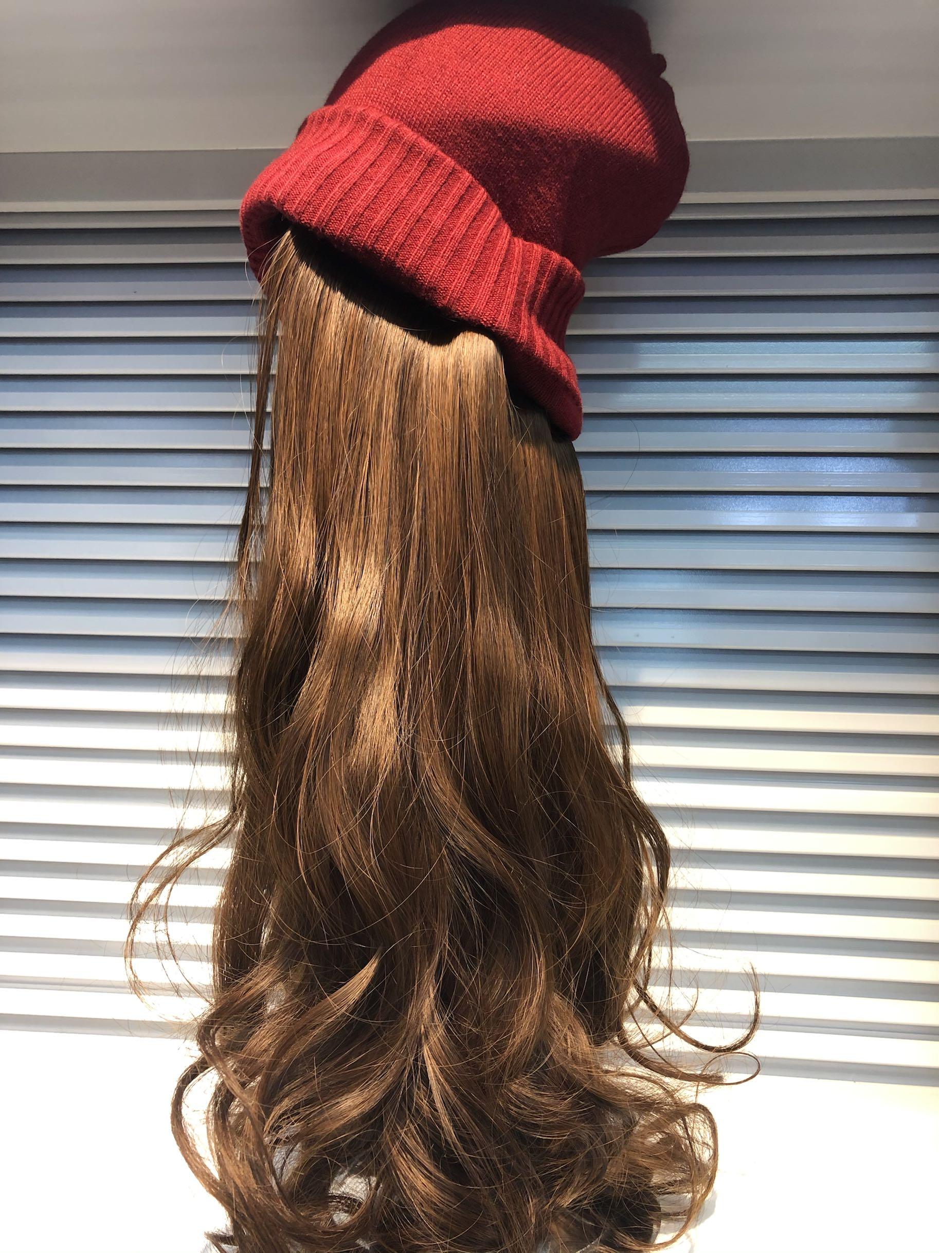 毛线帽子带假发一体可拆卸女秋冬天款长发水波纹网红时尚长卷发